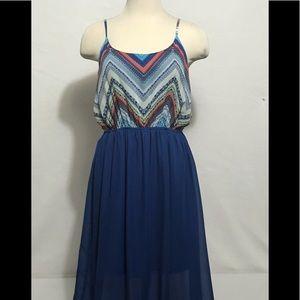 Love Fire Women Dress Size L Blue Spaghetti Strap
